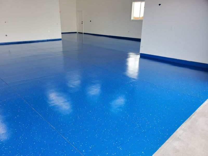 Epoxy Base color example on garage floor