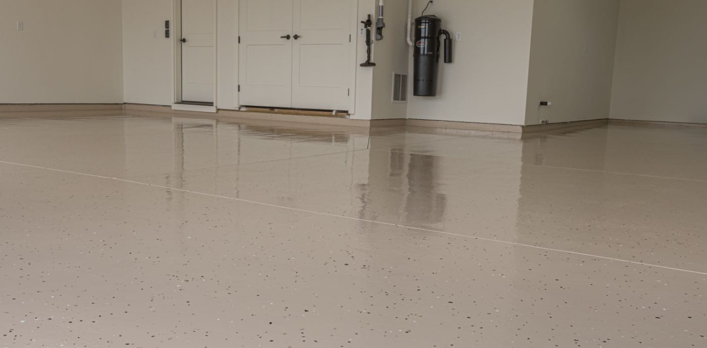 tan epoxied garage floor